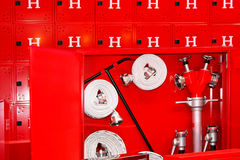 Hydrant. Complete mandatory fire hydrant and hose equipment Royalty Free Stock Photo