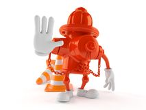 Hydrant character with stop gesture. Isolated on white background. 3d illustration Royalty Free Stock Photo