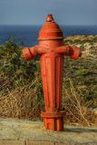 Hydrant. Close photo, red hydrant, environmental Royalty Free Stock Image