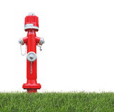 Hydrant in the grass. Red fire hydrant in the grass, isolated on white background Stock Photography