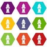 Hydrant icon set color hexahedron. Hydrant icon set many color hexahedron isolated on white vector illustration Royalty Free Stock Photo