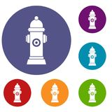 Hydrant icons set. In flat circle reb, blue and green color for web Stock Photography