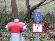 Hydrant mit Zeichen Stockbild