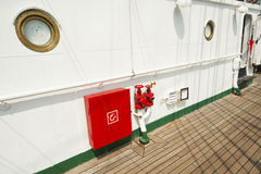 Hydrant and water intakes. Details of hydrant and water intakes on deck stock photography