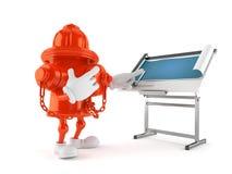 Hydrantcharakter mit Plan stock abbildung