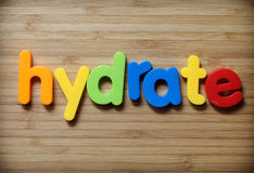 Hydrate concept. In toy letters Stock Image