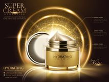 Hydrating cream ads. Golden cream jar with open lid and glittering decorative elements in 3d illustration vector illustration