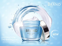 Hydration cream ad. Hydration cosmetic cream ad, with water flow and white cream elements, 3d illustration Royalty Free Stock Photos