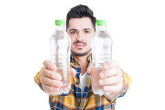 Hydration and healthy lifestyle concept with two bottles of wate Stock Photos