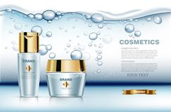 Hydration water cosmetic set Vector realistic. Product packaging mock up. Blue golden bottles cream and lotion. Water royalty free illustration