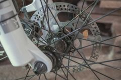 Hydraulic brake disc on the bicycle royalty free stock photography