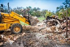 Hydraulic bulldozer crusher, industrial excavator machinery work Royalty Free Stock Photo