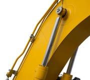 Hydraulic bulldozer piston excavator arm Isolated on white Stock Photos