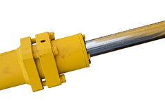 Hydraulic bulldozer piston excavator arm Isolated on white Royalty Free Stock Images