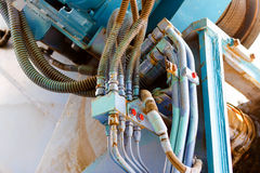 Hydraulic cable connection Stock Photos