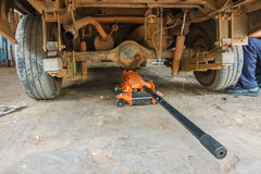 Hydraulic car jack. To lift car for change the wheel royalty free stock image