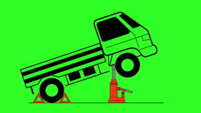 Hydraulic car jack to lift and repair vehicle. Green screen background. stock footage