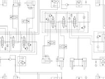 Hydraulic circuit of machine. Repeating seamless pattern for technical design. Royalty Free Stock Images