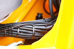 Hydraulic connections of a machinery industrial detail Stock Images