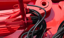 Hydraulic connector. Detail of red hydraulic connectors Stock Images
