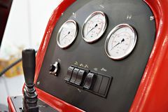 Hydraulic control panel Royalty Free Stock Images