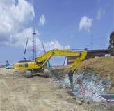 Hydraulic Crusher excavator machine Stock Image