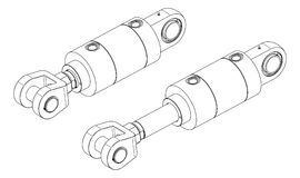 Hydraulic cylinder. Vector drawing of hydraulic cylinder on white background royalty free illustration