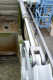 Hydraulic cylinder as water dam element Royalty Free Stock Image