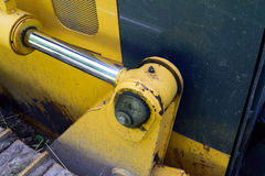 Hydraulic Cylinder on Bulldozer Royalty Free Stock Photos
