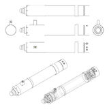 Hydraulic cylinder. Technical vector drawing. Stock Photography
