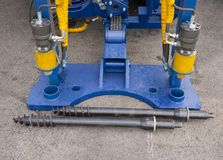 Hydraulic Cylinders of boring machine Stock Photo