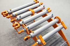 Hydraulic cylinders. On stand exhibition Stock Image