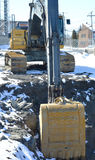 Hydraulic digger and excavator Stock Photos