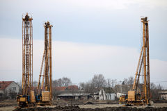 Hydraulic drilling machines on construction site Stock Photo