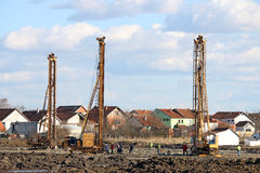 Hydraulic drilling machines on construction site Stock Images
