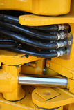 Hydraulic elements of the heavy building bulldozer Stock Photo