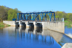 Hydraulic engineering construction on the river Royalty Free Stock Images