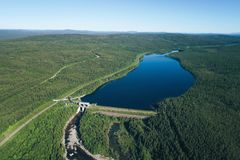 Dam on the River. Aerial View. Hydraulic Engineering Structure Located near Kandalaksha Town in Nothern Russia on River Niva stock photography