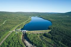 Dam on the River. Aerial View. Hydraulic Engineering Structure Located near Kandalaksha Town in Nothern Russia on River Niva stock image