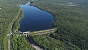 Dam on the River. Aerial View. Hydraulic Engineering Structure Located near Kandalaksha Town in Nothern Russia on River Niva royalty free stock photos