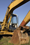 Hydraulic excavator. Front part of the machine with the Boom, the middle part the Arm, and the tip portion, which is used for excavation work,  the Bucket Stock Images