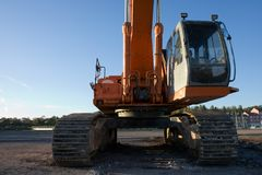 Hydraulic Excavator. The front and cab of an excavator stock photos