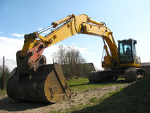 Hydraulic excavator. Different shoots of the hydraulic excavator (yellow and black Stock Photography
