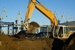 Hydraulic Excavator At Work Stock Images