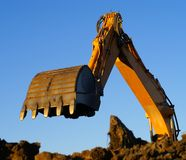 Hydraulic Excavator At Work Royalty Free Stock Photos