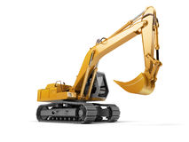 Hydraulic Excavator with bucket isolated on white.. Hydraulic Excavator with bucket. 3d illustration. Front side view. Wide angle. Isolated on white background Stock Image
