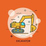 Hydraulic excavator or digger. Heavy equipment vehicle with bucket, machine used for digging, construction works, mining Stock Image