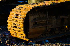 Hydraulic Excavator Shoe And Track Frame Stock Image
