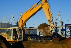 Hydraulic excavator at work Stock Photo
