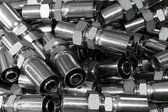 The hydraulic fitting. Stock Photos